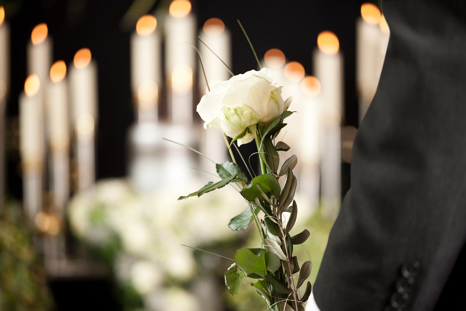 white flower at funeral